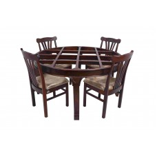 Premium Design Glass Top Rose Wood Dining Table (5 Ft x 5 Ft) with 4 Chairs VDT0211