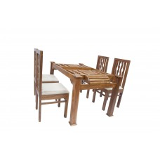 Premium Design Glass Top Teak Wood Dining Table (5Ftx3Ft) with 4 Chairs VDT0119