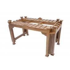 Premium Design Glass Top Teak Wood Dining Table (5Ftx3Ft) VDT0120