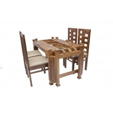 Premium Design Glass Top Teak Wood Dining Table (5Ftx3Ft) with 4 Chairs VDT0121