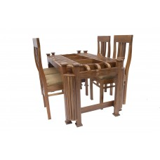 Premium Design Glass Top Teak Wood Dining Table (5Ftx3Ft) with 4 Chairs VDT0122