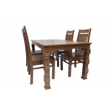 Premium Design Teak Wood Top Dining Table (5ftx3Ft) with 4 Chairs VDT0123