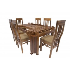 Premium Design Glass Top Teak Wood Dining Table (6ftx4Ft) with 6 Chairs VDT0125