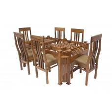 Premium Design Glass Top Teak wood Dining Table (5Ftx3Ft) with 6 Chairs VDT0202