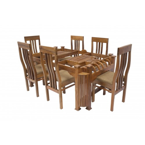 Teak Wood Dining Table Glass Top