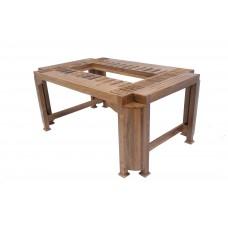 Premium Design Glass Top Teak wood Dining Table (6Ftx4Ft) VDT0203