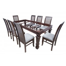 Premium Design Glass Top Rose Wood Dining Table (7Ftx3.5Ft) with 8 Chairs VDT0208