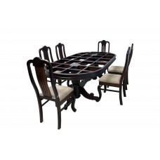 Premium Design Glass Top Rose Wood Dining Table (8Ftx4Ft) with 6 Chairs VDT0209